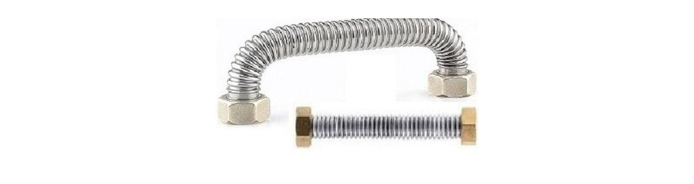 Flexible inox sans tresse pour eau et vapeur avec raccords laiton